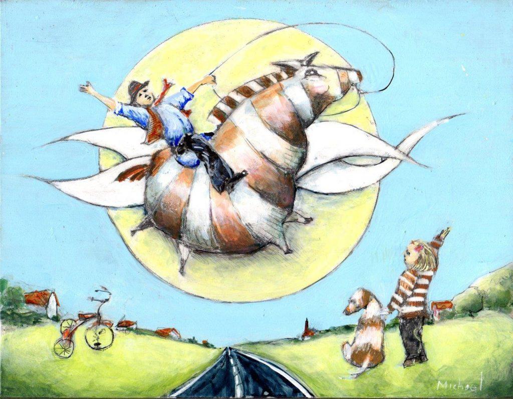 Life is But a Dream (Yippie Yi Yo Ki Yay), Acrylic on Panel, 8.5 x 11 inches, by Michael Hermesh