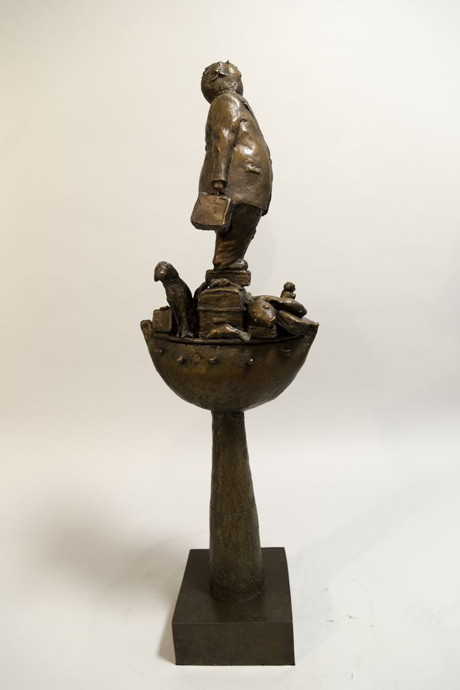 Life Without the Ferryman – Michael Hermesh, Bronze, 32 X 11 X 6.5 inches, new bronze releases by Michael Hermesh