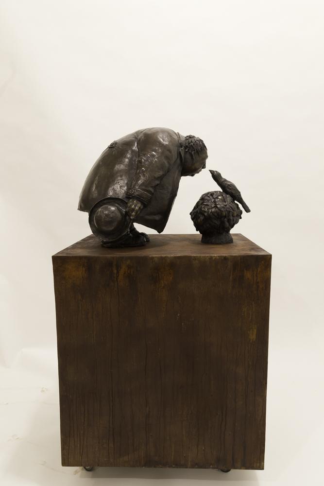 Mocking Bird in an Orange Bush, Bronze with Steel Base, 49 x 20.5 x 28.5 inches, Sculpture by Michael Hermesh