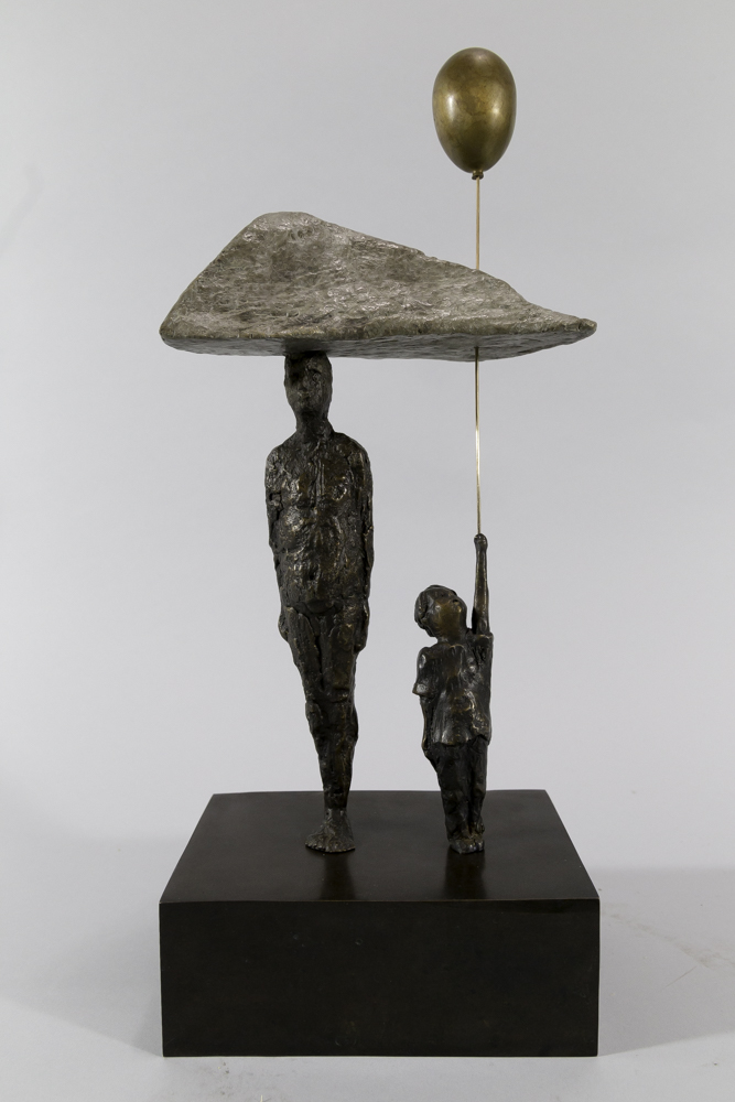 Perfect Symmetry on a Cloudless Day - Michael Hermesh, Bronze, 15.5 x 7 x 5 Inches plus Balloon, Ceramic and Bronze Sculpture by Michael Hermesh, Michael Hermesh's New Show