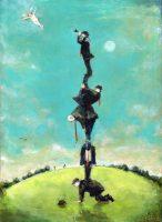 Angel Hunters of Panache, Acrylic on Panel, 14.75 x 10.75 inches, Paintings by Michael Hermesh, Michael Hermesh's New Show