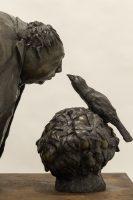 Mocking Bird in an Orange Bush, Bronze with Steel Base, 49 x 20.5 x 28.5 inches, Sculpture by Michael Hermesh, Michael Hermesh's New Show