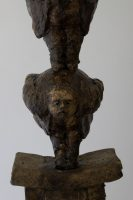Parable of the Self Made Man - Michael Hermesh, Ceramic, 24.5 X 9.5 X 6.5 Inches, Ceramic and Bronze Sculpture by Michael Hermesh