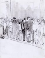 The Crowd, Mixed Media Drawing by Michael Hermesh, Mondo Creation Show