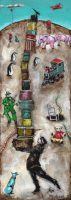 The Hat Box Man - Snakes & Ladders Edition, Acrylic on Panel, 14 x 5 inches, Paintings by Michael Hermesh, Michael Hermesh's New Show